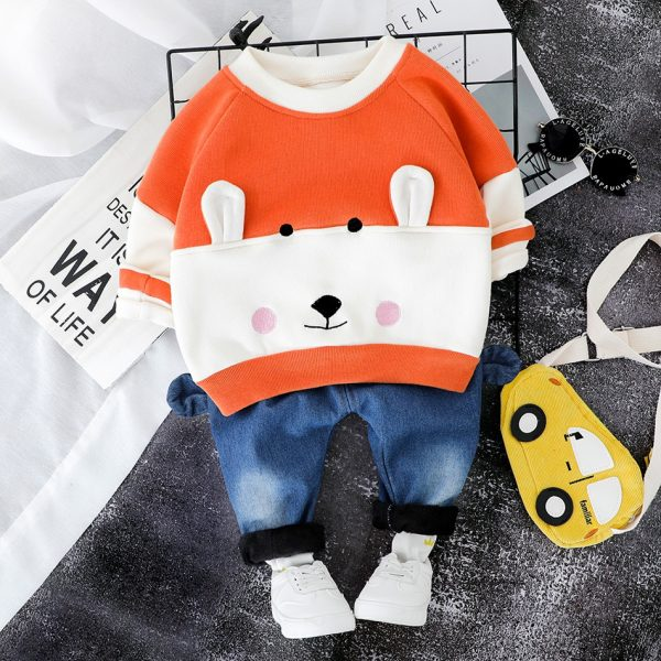 baby boy dresses, baby boy, Orange Fleace Sweater Jeans
