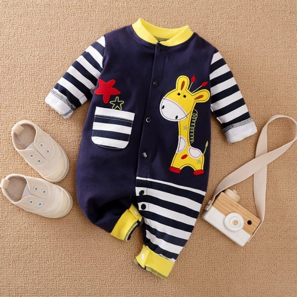 Blue Stripe Giraffe Jumpsuit