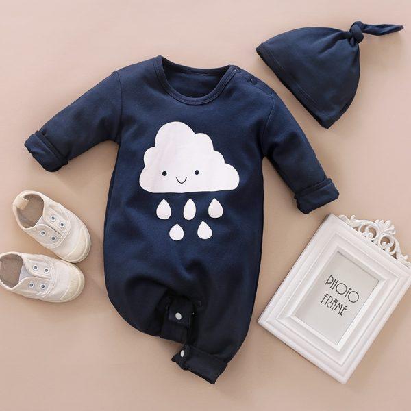 Blue Cloud Rain Jumpsuit With Hat