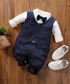 Formal Striped Waist Coat Bow Jumpsuit